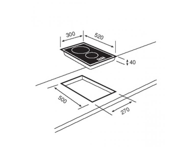 стеклокерамическая варочная панель, сенсорная панель управления, фацетированное стекло, 2зоны приготовления...